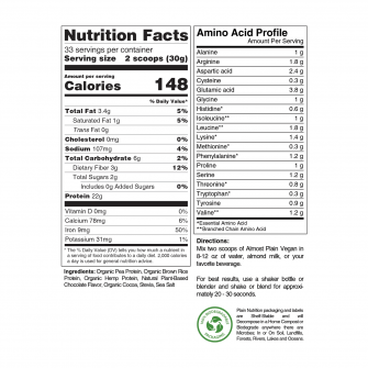Chocolate Vegan Protein Powder Blend Nutrition Facts