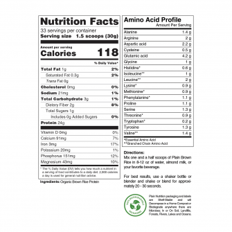 Organic Brown Rice Protein Powder Nutrition Facts