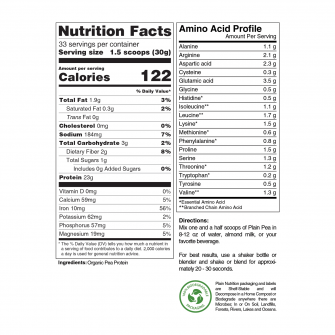 Organic Pea Protein Powder Nutrition Facts