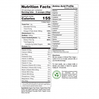 Premium Chocolate Vegan Protein Powder Blend Nutrition Facts