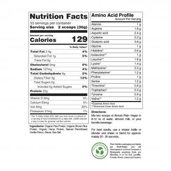 Vanilla Vegan Protein Powder Blend Nutrition Facts